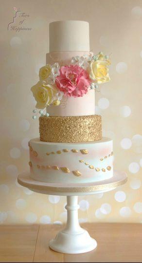 Whimsical pastel wedding cake