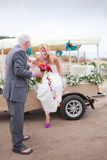 Dad helping bride