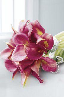 Deep Pink Calla Lily and Pearl Bridal