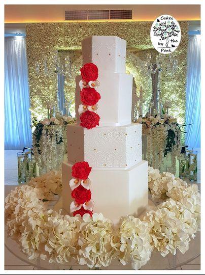 Hexagonal wedding cake