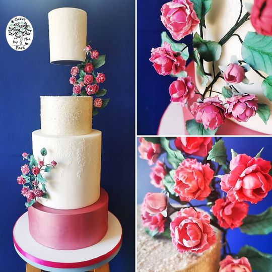 Floating tier with mini roses