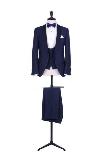 Royal blue slim fit tux hire
