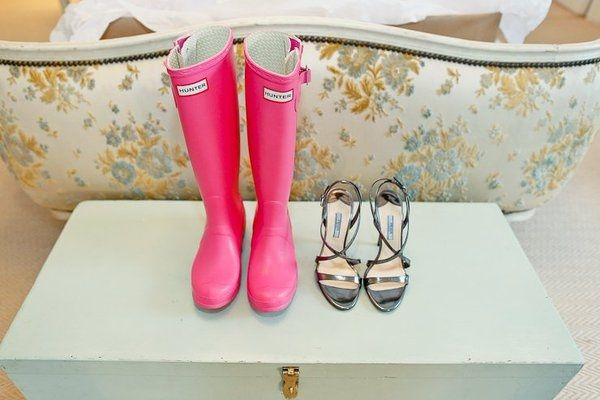 Wedding shoes and wellies