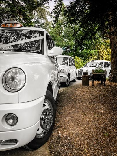 A fleet of modern taxis