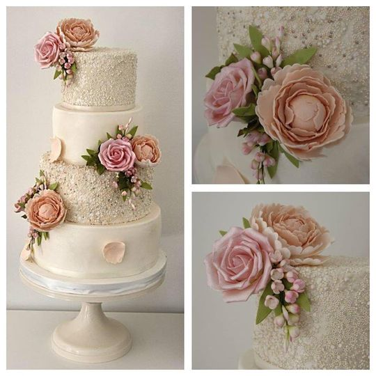 Peony & rose wedding cake