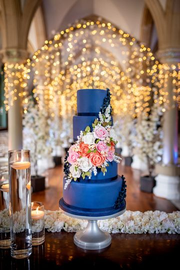 Midnight bloom wedding cake
