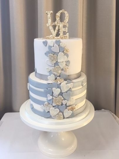 LOVE cascading hearts wedding cake