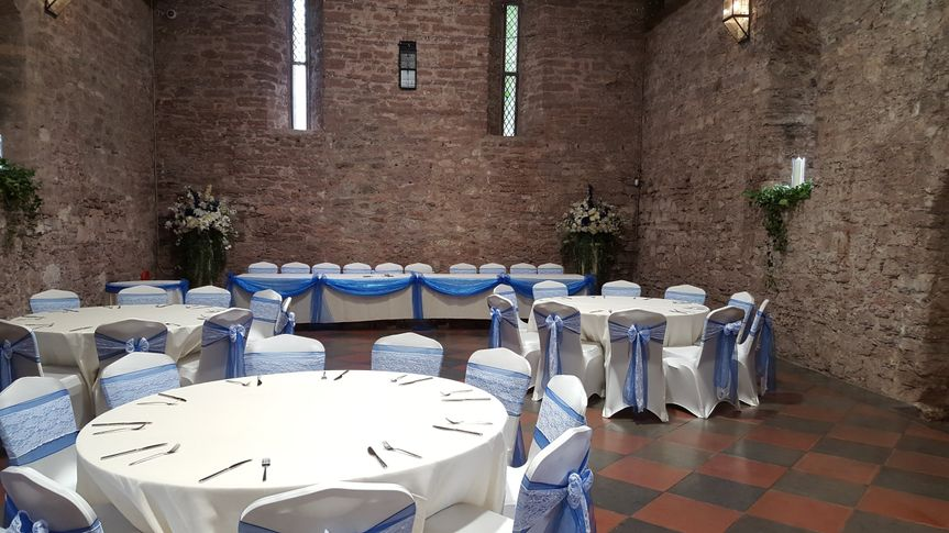 Lace with royal blue sashes