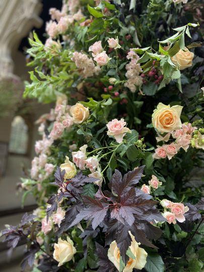 Church entrance flowers