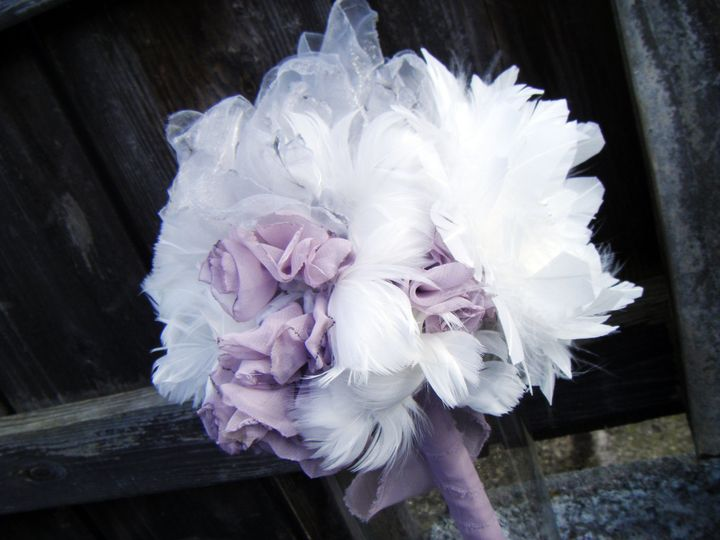 A handmade vintage style feather bouquet.