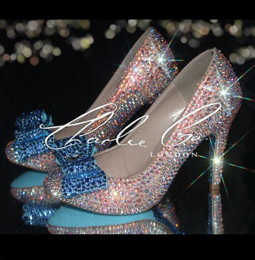 Blue Bow Crystal Court Heels