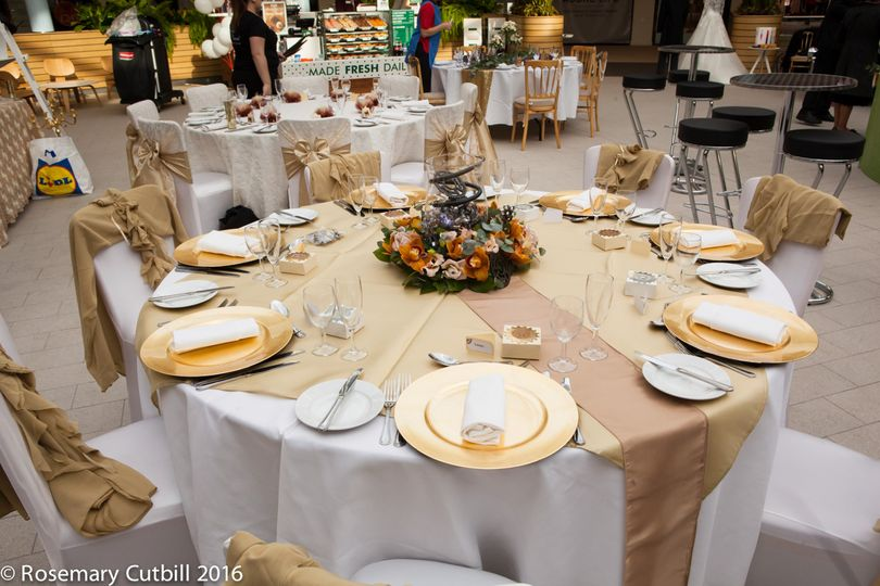 Gold themed table setting