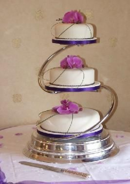 3 tier wedding cake with orchids