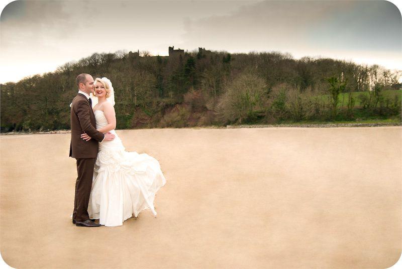 Wedding photography at Llansteffan Beach near Carmarthen