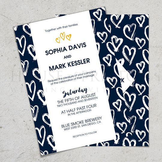Hand Drawn Hearts Invites