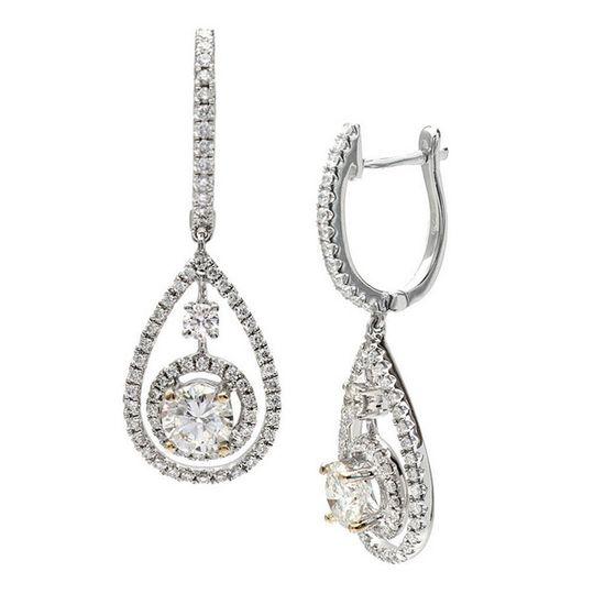 White gold, diamond earrings