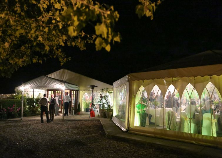 Reception marquee at night