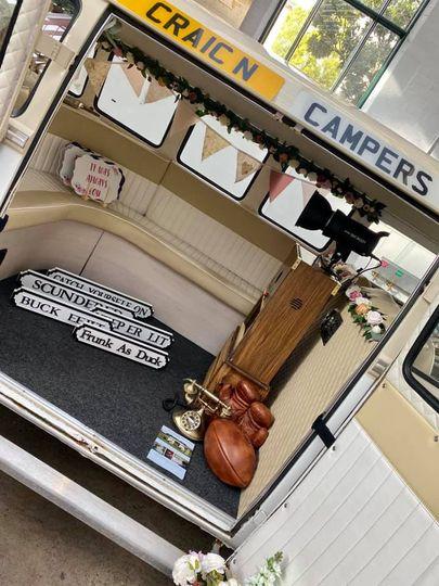Campervan photo booth inside