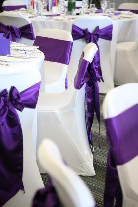 White Covers with Cadbury Purple Silk Sashes