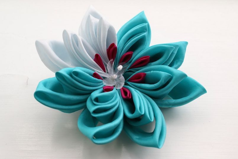 Extra 20Large 20Aqua 20and 20Pale 20Blue 20Silk 20Waterlily 20Kanzashi 20Clip