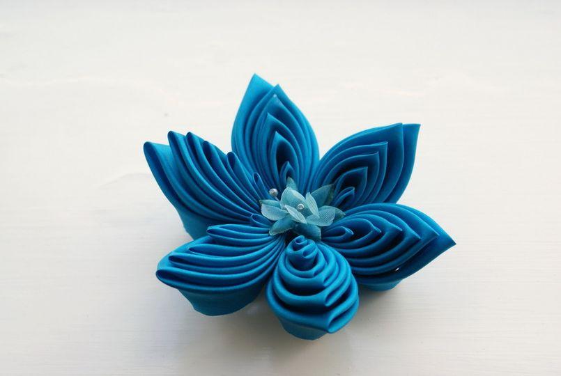 Extra Large Turquoise Silk Kanzashi