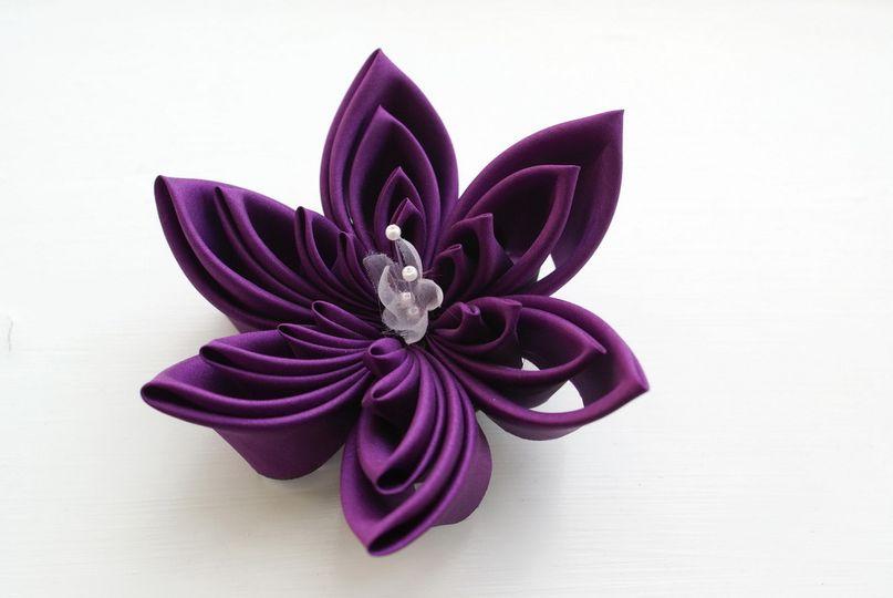 Extra Large Violet Silk Kanzashi