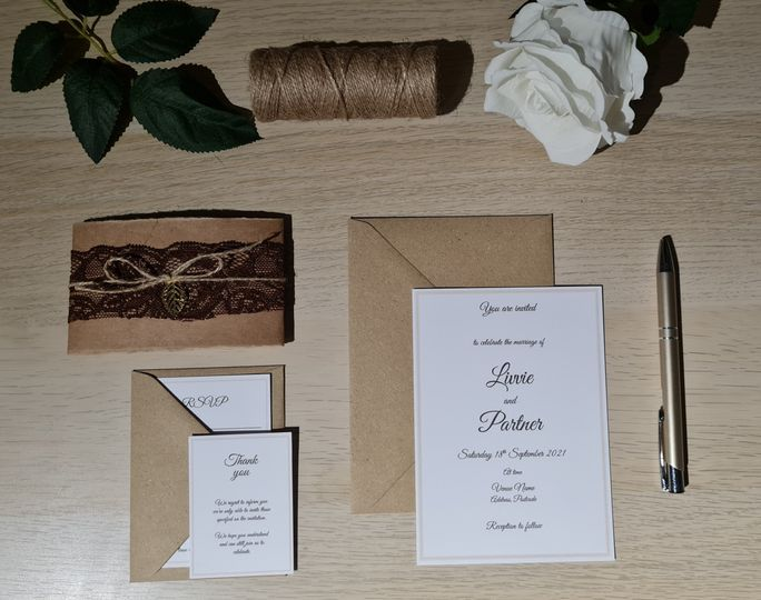 Parcel invite with gold leaf