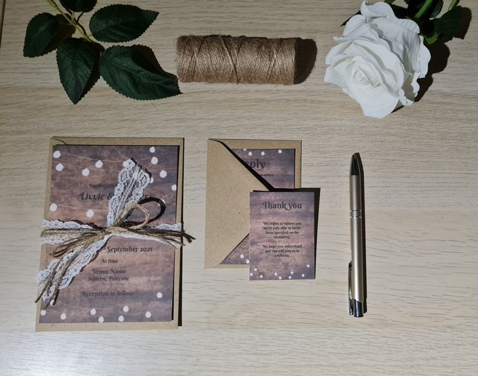 Invite with lace & string bow