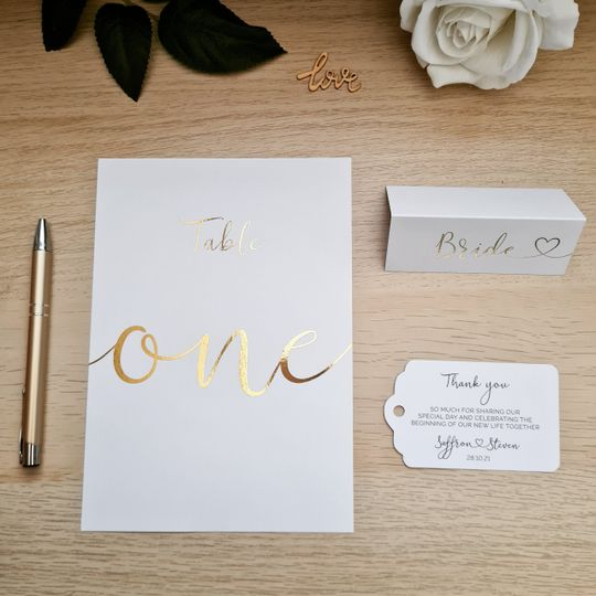 Gold foil table stationery