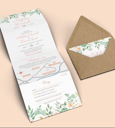 Peach Floral Folded Invitation