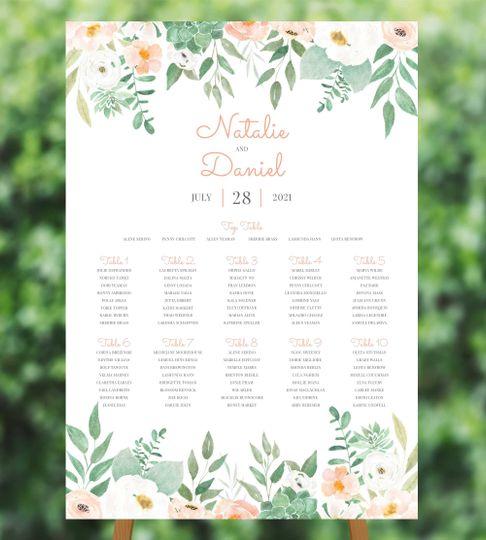 Peach Floral Table Plan