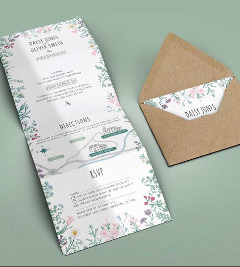 Wildflower Folded Invitation