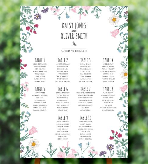 Wildflower Table Plan