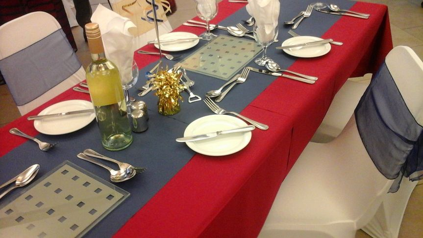 A red and blue colour scheme