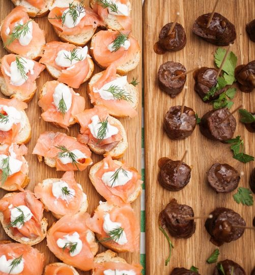 Freshly made canapes