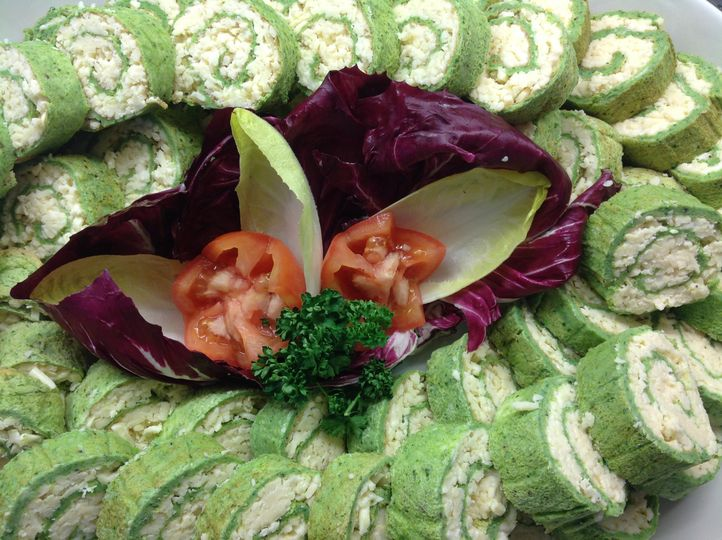 Cheese and spinach roulades