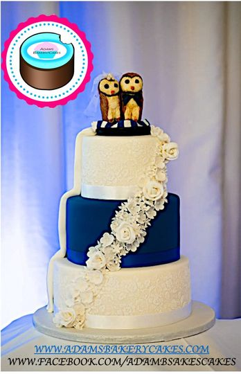3 tier royal blue and lace cak