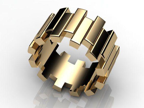 Bold gold wedding ring