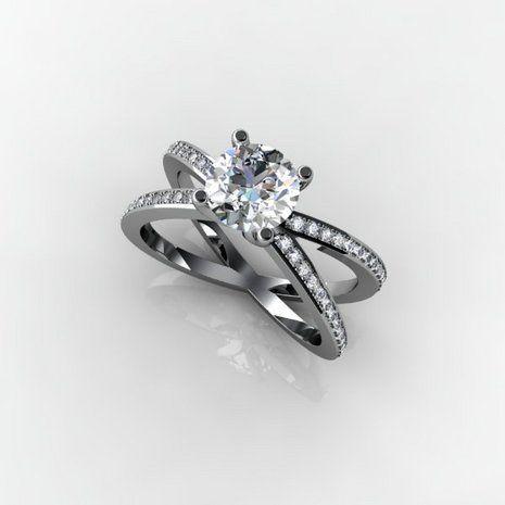 Criss cross platinum diamond ring