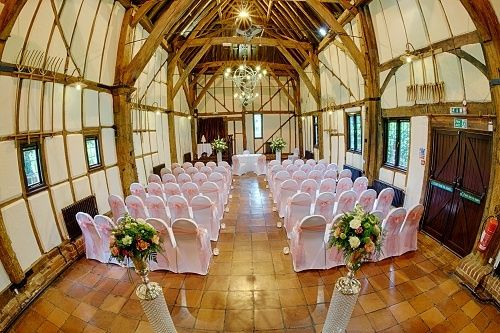 Tithe barn dressed in pink