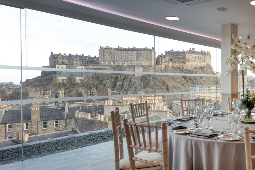 Wedding breakfast castle view