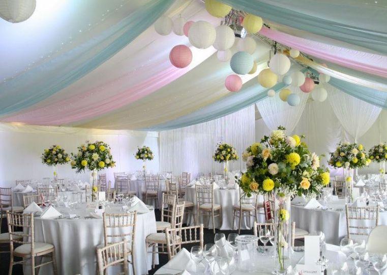 Beautiful drapes & lanterns