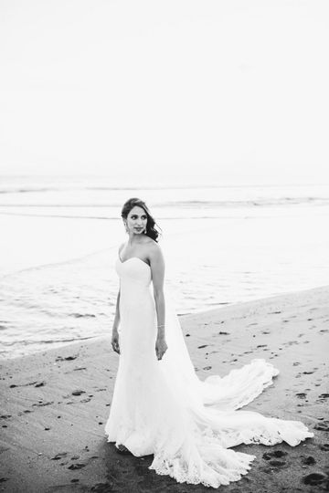 Wedding dress by the waterfront