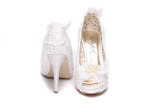 Flo Bridal Shoes with lace & Pearls