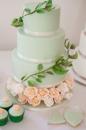 Three-tier fondant iced cake