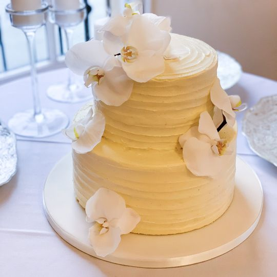 Two-tier buttercream cake