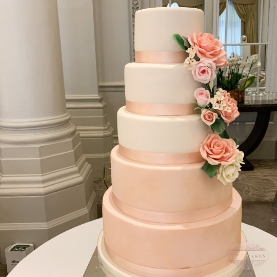 Blush five-tier cake