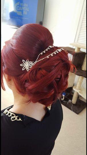 Sleek, coiled hair up