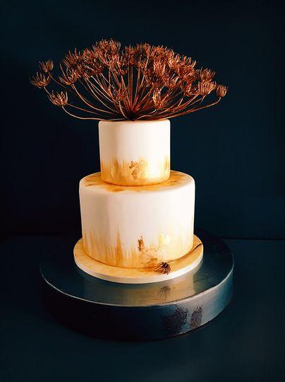 Sunset gold wedding cake