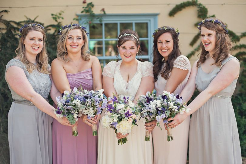 Posing with their bouquets